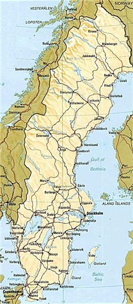 A map of Sweden with largest cities and lakes and most important roads and
