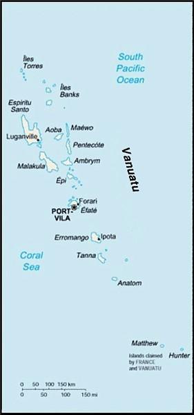 Map Of Vanuatu. Map of Vanuatu